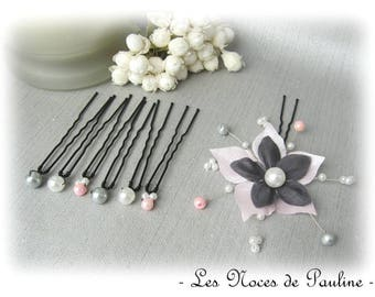 Set of pink, grey and white hair flower silk jewelry