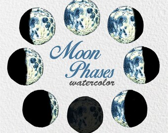 Moon Phase Watercolor | Moon Clipart | Phases of the Moon clipart | Lunar Clipart | Planets Art | Moon Illustration | Instant Download | PNG