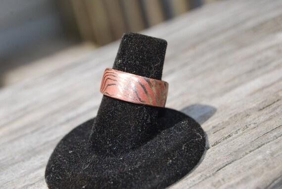Mokume Gane ring, Copper and Nickel ring, Hand forged Mokume Gane ring, Hand forged ring, Hand forged wedding jewelry, Mokume wedding band