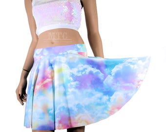 Pastel Clouds Lycra Circle Twirl Skirt Adult All Sizes- MTCoffinz - Choose Size / Length