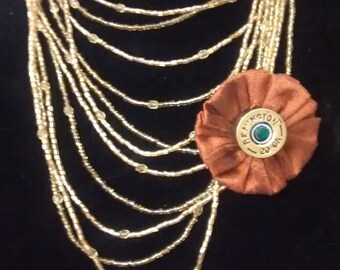 Handcrafted Necklace with removable Pin with a 20 ga shell