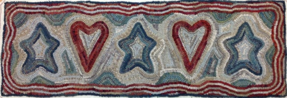 """Rug Hooking PATTERN, Patriotic Dreams, 12"""" x 36"""", P112, 4th of July, Red, White and Blue, Primitive Hearts and Stars"""