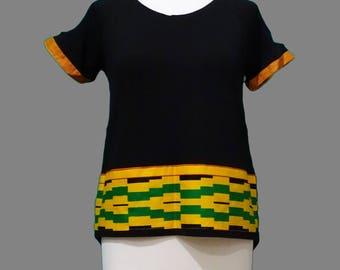 Kente African Inspired Drop Tail Ladies Tshirt