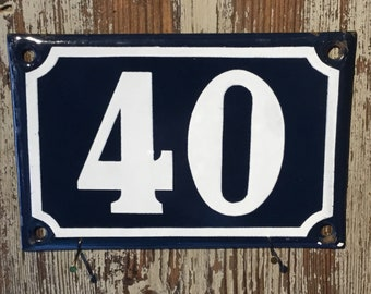 Vintage French enamel house number - number 40. Traditional blue and white