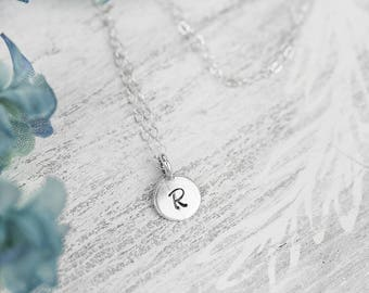 Tiny Initial Charm Necklace, Sterling Silver Initial Charm Necklace, Minimalist Letter Pendant, Silver Alphabet Charm, Silver Letter Charm