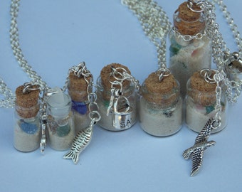 Beach in a Bottle Charm Necklace, Sea Glass, Shells, Bucket and Spade Charm, Gift For Her, Silver Beach Charm Necklace by Serenity Nirvana