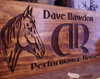 Personalized Wooden Signs Western Rustic Carved Wood Logo Signs With Horse  Silhouette Great Gift Idea Wooden