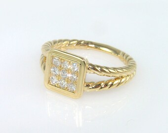 square engagement ring, gold rope ring, square diamond ring, square engagement ring Gold Diamond Ring engagement ring 9 diamonds ring