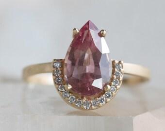One of a Kind Color-Change Malaya Garnet Ring with Half Halo