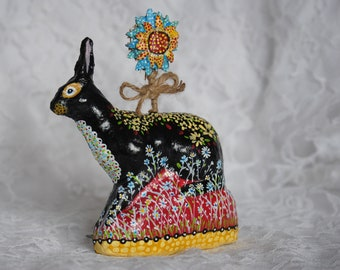 Vintage Style, Hand Painted Summer Rabbit With Sunflower