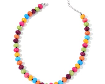 Natural Bead Necklace-Multi-Color Quartzite Bead Jewelry-Bright Colors Jewelry-Spring Summer Gift-Natural Stone Jewelry