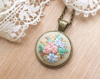 Cream Embroidered Necklace, Neutral Flower Necklace, Neutrals, Boho Pendant, Boho Necklace, Embroidered Necklace, Rustic Necklace