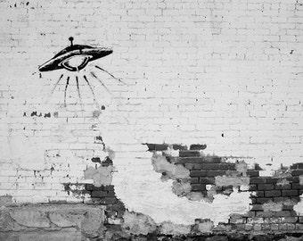 Black and White Photography, Space Ship UFO. Graffiti Photograph, Street Art, Gray, Architecture Photograph, Urban Decay, Crumbling Brick