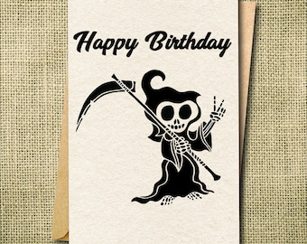 Humorous birthday etsy funny birthday card grim reaper card humorous birthday card funny birthday card for bookmarktalkfo Image collections