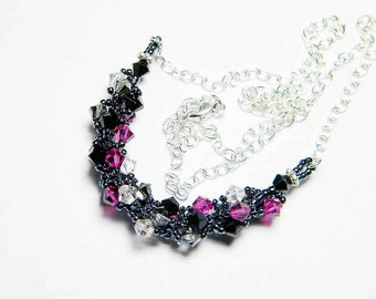 """Fuschia Swarovksi Crystal Necklace Crystal Silver Night Jet Silver Shade Sterling Silver Beadweaving - """"Perky Goth"""" by Whimsy Beading"""