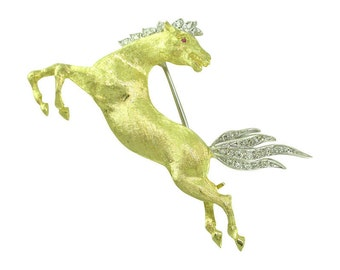 Diamond Horse Brooch