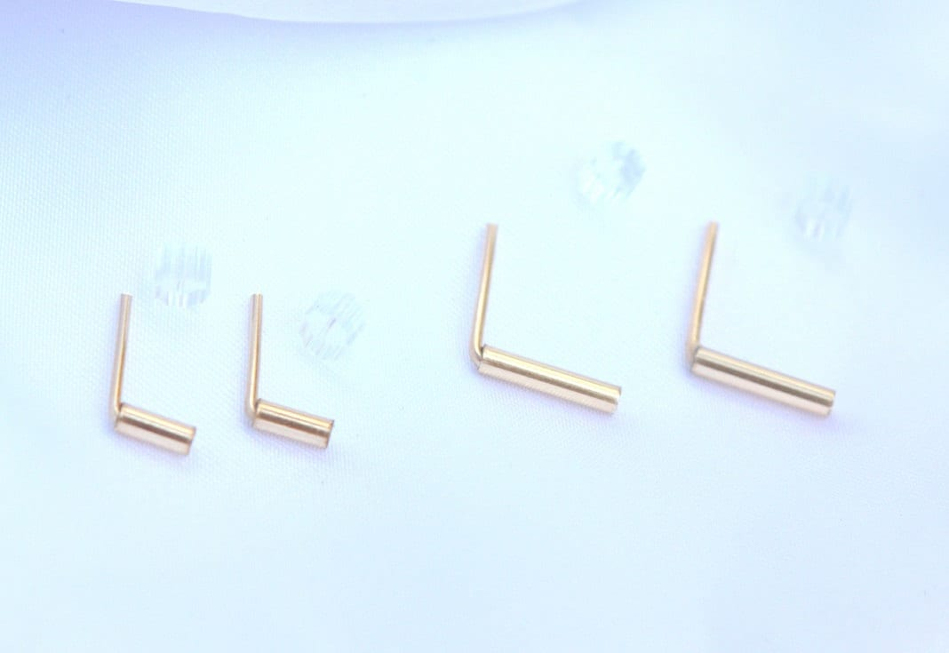 Gold Bar Earrings tiny gold bar studs Tiny 14k gold filled
