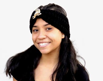 Crochet Turban Headband, Black, Earwarmer, Women, Teen, Chunky, Ready To Ship,