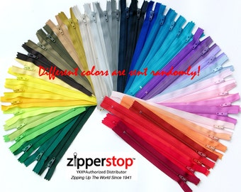 100 YKK Nylon Zippers 7 Inches #3 coil  Assorted Colors ( 100  ykk Zippers) Made in USA ~ZipperStop Wholesale Authorized Distributor YKK®