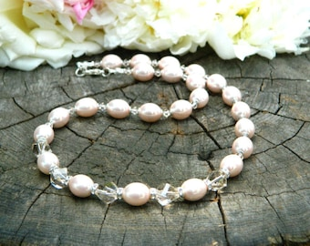 Wedding Necklace Bridal Necklace Pearl Bridal jewelry Anniversary gift for Women Statement Necklace Gift Pink Jewelry Pearl Jewelry Necklace