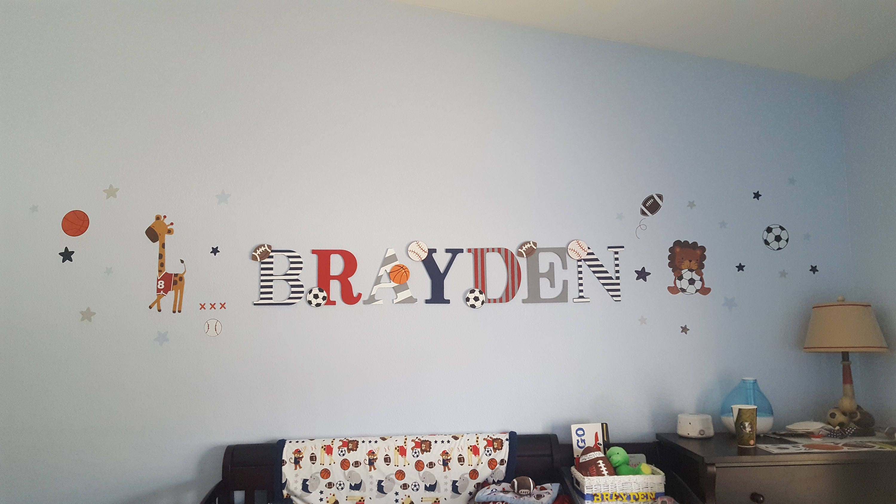 Sports Nursery Letters Brayden Football Soccer Baseball