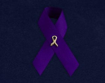 100 Violet Ribbon Satin Pins (100 Pins) (P-07-27)