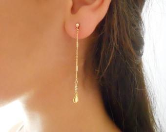 Delicate Gold Dangling Earrings, Gold Dangling Earrings, Long Gold Studs, Gold Chain Earrings, Gold Drop Dangle Earrings, #722