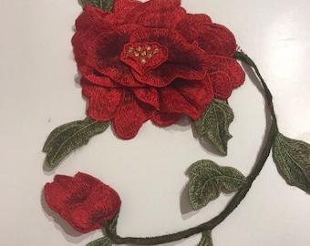 3D red poppy flower patch