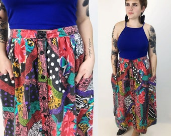 80's Abstract Mixed Prints Button Front Midi Skirt with Pouch Pockets Size 10 - Vintage High Waist Cotton Midi Skirt Stretchy Elastic Waist