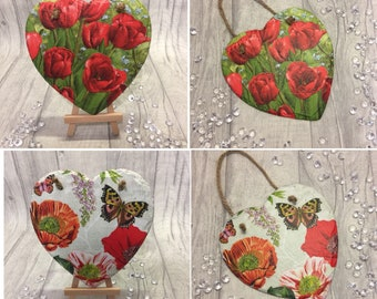 Heart decoration/decoration/hanging heart/decorative heart/heart/flowers/floral/butterfly/gift/wall decor/wall hanging/slate heart/gift