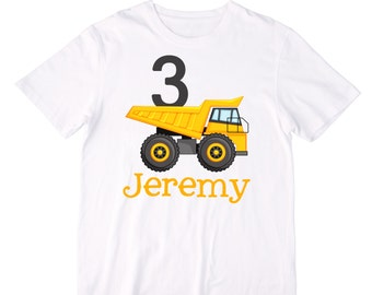 Personalized Dump Truck Construction Truck Birthday Shirt or Bodysuit - Personalized with ANY Name and Age