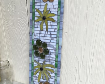 Green and Yellow Flower Mosaic Wall Hanging