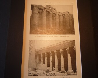 Egyptian Temple Photographs - 1924 print - Great for Framing - gift for architect - Ammon Karnak Isis Colonnade