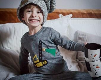 Truck pajama, Christmas construction, Custom Christmas Pajamas, Holiday Pajamas, Christmas pj for family, Christmas present for boys, pajama