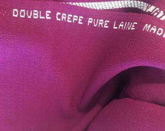 CREPE WOOL fabric Fuchsia DOUBLE Crepe fabric