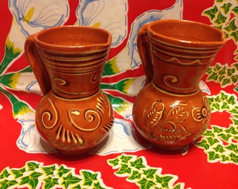 Vintage pair of hand painted terra cotta pitchers- Mexico