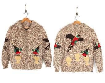 Vintage 50s/60s Cowichan Sweater - Rare 1950s 1960s Pheasant Hunting Wool Cowichan - 50s/60s Hand Knit Novelty Pheasant Cowichan Sweater