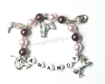 Western Charm Bracelet. Gift for horse lover. YOU CHOOSE 5 charms, pearl color, & name. Personalized Bracelet Custom Name Cowgirl Bracelet