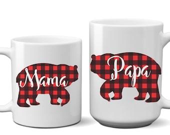 Set of Buffalo Plaid Mama Bear Papa Bear Coffee Mug Couple Gift Wedding Day Anniversary Bridal Shower His and Hers Husband Wife Mug Tea Cup