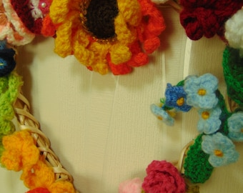 Hand-made Knitted Summer Wreath
