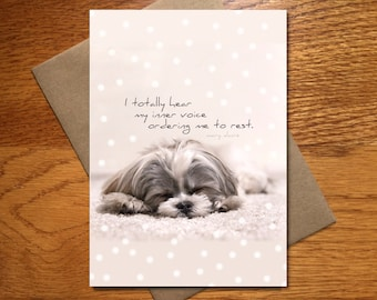 Every Day Spirit / Cute Dog Card / Get Well Card / Friend Encouragement Card / Funny Card / Get Well Yoga Card / Animal Card / 5x7