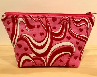 Valentines Day  Heart makeup bag, cosmetic bag, zipper pouch, toiletry bag, gift for women, pencil case