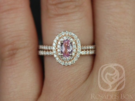 Rosados Box Cara 6x4mm 14kt Rose Gold Oval Raspberry Peach Sapphire and Diamonds Double Halo Wedding Set