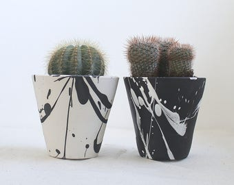 Torrent Planter Small Black and White Planter Ready to Ship