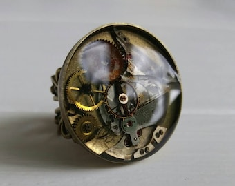 Steampunk Ring XI, Gears, Mechanical Bits and Cogs, Watch Movement, Poured Resin, Recycled Clock Pieces, High quality, Airship Pirate