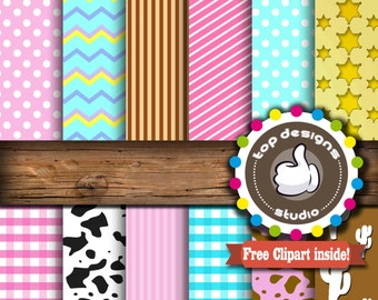 "SALE Kitten Sheriff Digital Paper : ""Sheriff Girl Digital""- Cowgirl ClipArt, Western Scrapbook Paper, Instant Download, Commercial Use"