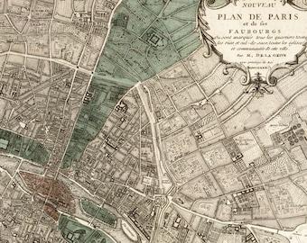 """Antique Paris Map """"Plan de Paris"""" - Victorian French Vintage Map Engraved - Elegant Grey Green Map"""