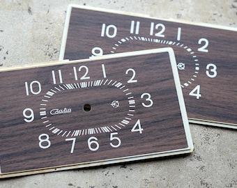 Vintage Soviet Alarm Clock Faces from 1980's -- wood imitation