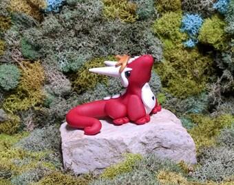 Red Queen Dragon  - Polymer Clay dragon - Dragon Sculpture - Clay Dragon - Geekery - Desk Buddy - Dragon Figurine - Cute Dragon - Wonderland