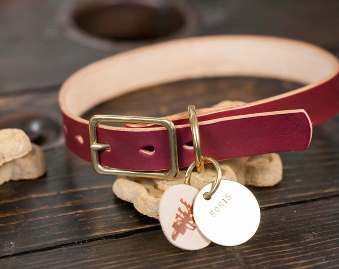 """1"""" OxBlood Leather Dog Collar with Solid Brass Hardware - Custom Made to Order"""